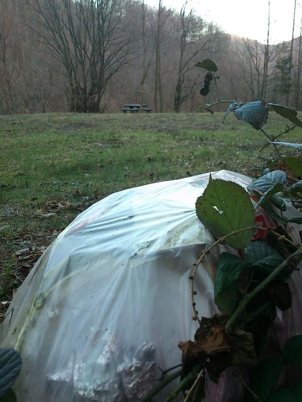Jedna od mnogih razbacanih vreća smeča